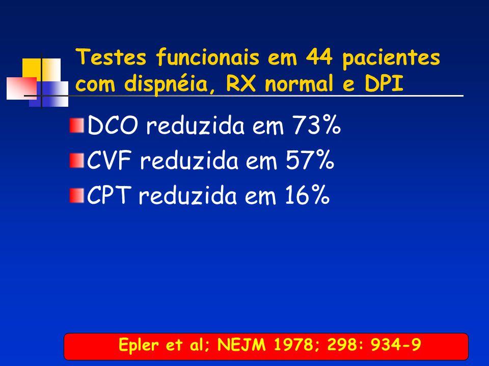 Testes funcionais em 44 pacientes com dispnéia, RX normal e DPI DCO reduzida em 73% CVF reduzida em 57% CPT reduzida em 16% Epler et al; NEJM 1978; 29