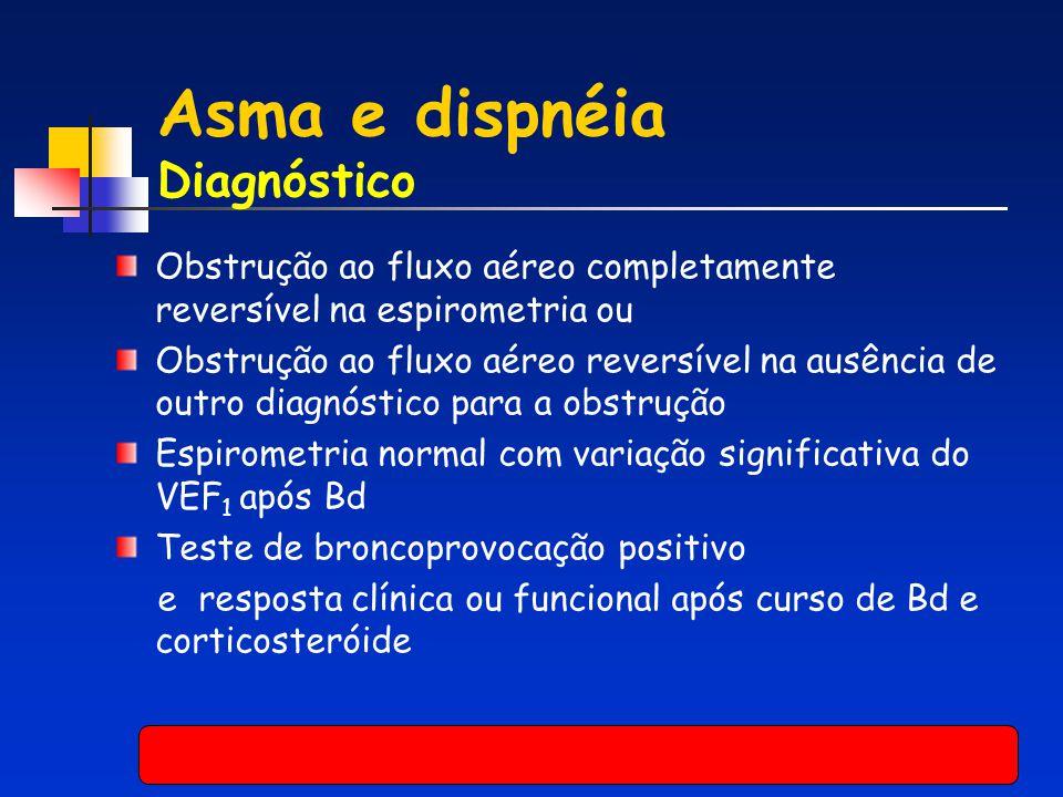 Asma e dispnéia Diagnóstico Obstrução ao fluxo aéreo completamente reversível na espirometria ou Obstrução ao fluxo aéreo reversível na ausência de ou