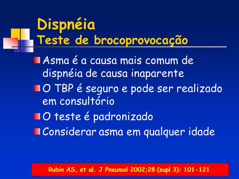 Dispnéia Teste de brocoprovocação Asma é a causa mais comum de dispnéia de causa inaparente O TBP é seguro e pode ser realizado em consultório O teste