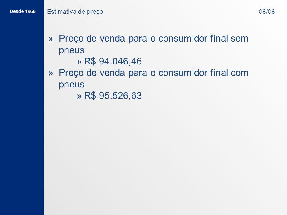 Estimativa de preço 08/08 » »Preço de venda para o consumidor final sem pneus » »R$ 94.046,46 » »Preço de venda para o consumidor final com pneus » »R$ 95.526,63