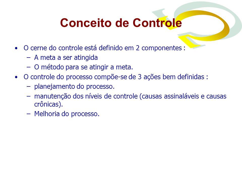 Conceito de Controle O cerne do controle está definido em 2 componentes : –A meta a ser atingida –O método para se atingir a meta.