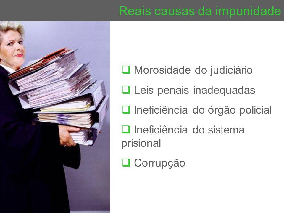 Reais causas da impunidade  Morosidade do judiciário  Leis penais inadequadas  Ineficiência do órgão policial  Ineficiência do sistema prisional 
