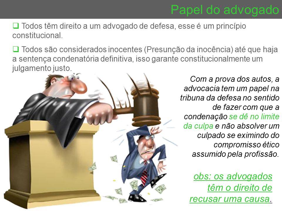 Papel do advogado  Todos têm direito a um advogado de defesa, esse é um princípio constitucional.  Todos são considerados inocentes (Presunção da in