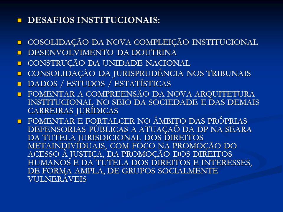 DESAFIOS INSTITUCIONAIS: DESAFIOS INSTITUCIONAIS: COSOLIDAÇÃO DA NOVA COMPLEIÇÃO INSTITUCIONAL COSOLIDAÇÃO DA NOVA COMPLEIÇÃO INSTITUCIONAL DESENVOLVI
