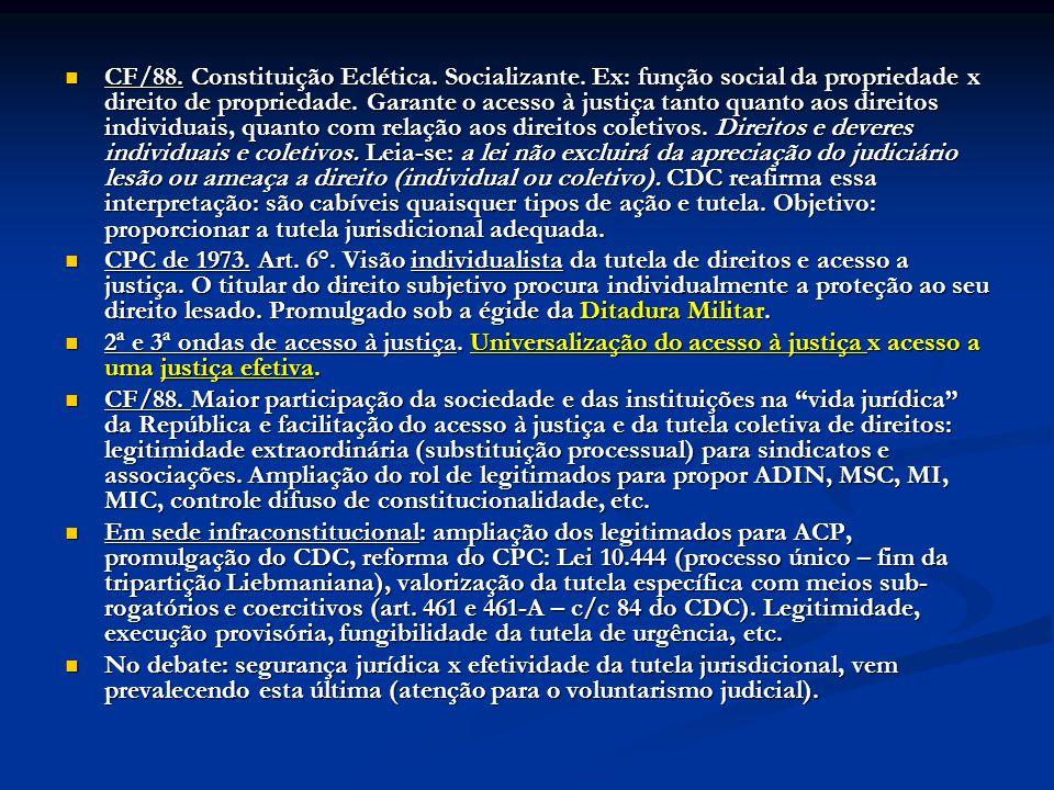 CF/88. Constituição Eclética. Socializante. Ex: função social da propriedade x direito de propriedade. Garante o acesso à justiça tanto quanto aos dir