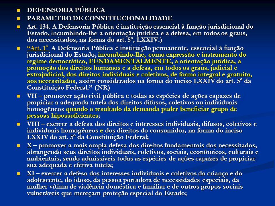 DEFENSORIA PÚBLICA DEFENSORIA PÚBLICA PARAMETRO DE CONSTITUCIONALIDADE PARAMETRO DE CONSTITUCIONALIDADE Art. 134. A Defensoria Pública é instituição e