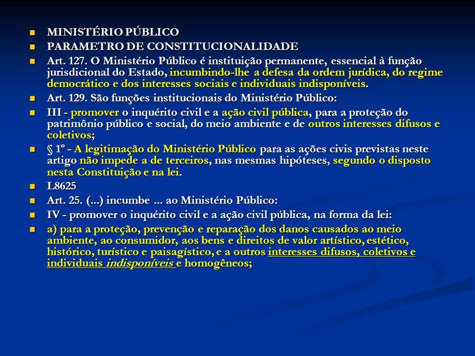 MINISTÉRIO PÚBLICO MINISTÉRIO PÚBLICO PARAMETRO DE CONSTITUCIONALIDADE PARAMETRO DE CONSTITUCIONALIDADE Art. 127. O Ministério Público é instituição p
