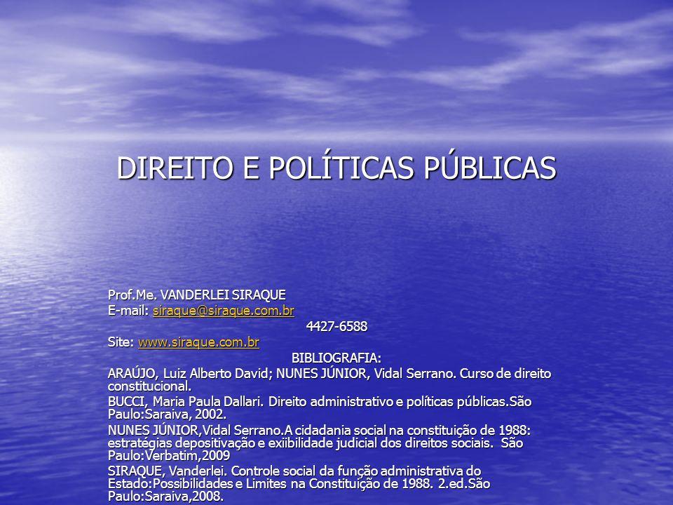 DIREITO E POLÍTICAS PÚBLICAS Prof.Me. VANDERLEI SIRAQUE E-mail: siraque@siraque.com.br siraque@siraque.com.br 4427-6588 Site: www.siraque.com.br www.s