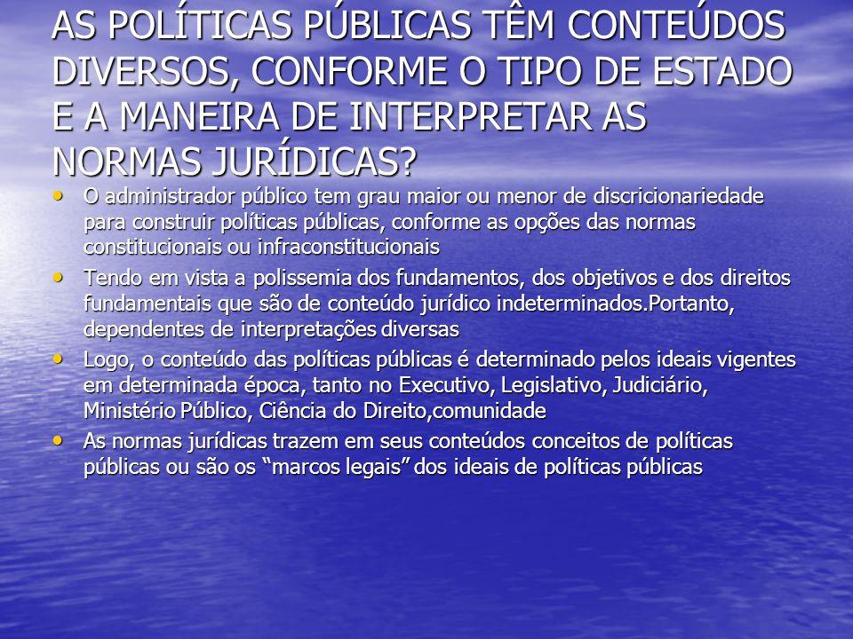 AS POLÍTICAS PÚBLICAS TÊM CONTEÚDOS DIVERSOS, CONFORME O TIPO DE ESTADO E A MANEIRA DE INTERPRETAR AS NORMAS JURÍDICAS? O administrador público tem gr