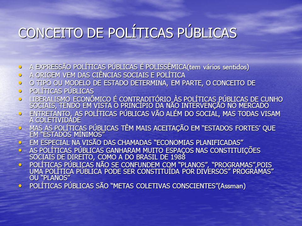 CONCEITO DE POLÍTICAS PÚBLICAS A EXPRESSÃO POLÍTICAS PÚBLICAS É POLISSÊMICA(tem vários sentidos) A EXPRESSÃO POLÍTICAS PÚBLICAS É POLISSÊMICA(tem vári