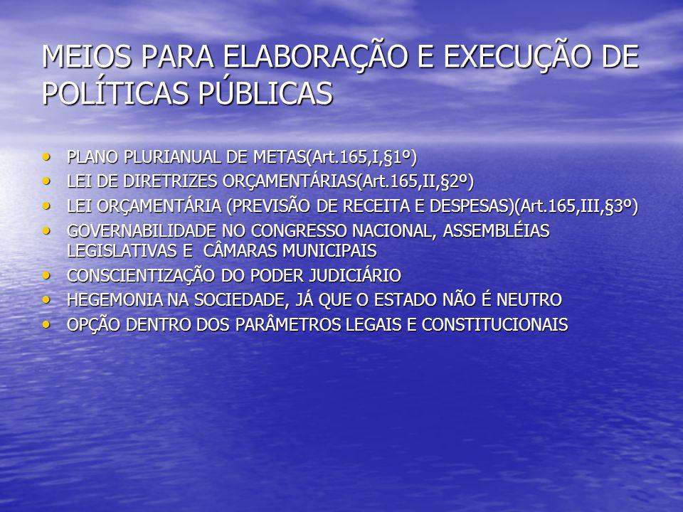 MEIOS PARA ELABORAÇÃO E EXECUÇÃO DE POLÍTICAS PÚBLICAS PLANO PLURIANUAL DE METAS(Art.165,I,§1º) PLANO PLURIANUAL DE METAS(Art.165,I,§1º) LEI DE DIRETR
