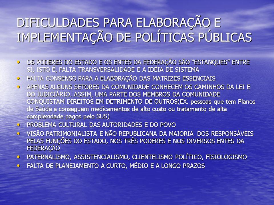 """DIFICULDADES PARA ELABORAÇÃO E IMPLEMENTAÇÃO DE POLÍTICAS PÚBLICAS OS PODERES DO ESTADO E OS ENTES DA FEDERAÇÃO SÃO """"ESTANQUES"""" ENTRE SI; ISTO É, FALT"""