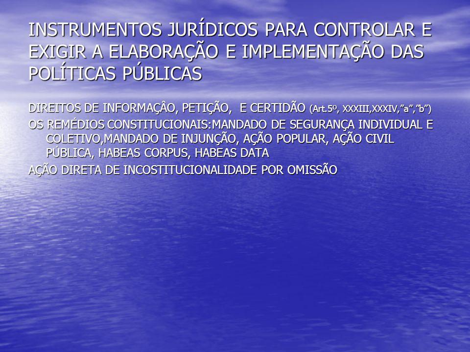 INSTRUMENTOS JURÍDICOS PARA CONTROLAR E EXIGIR A ELABORAÇÃO E IMPLEMENTAÇÃO DAS POLÍTICAS PÚBLICAS DIREITOS DE INFORMAÇÂO, PETIÇÃO, E CERTIDÃO (Art.5º