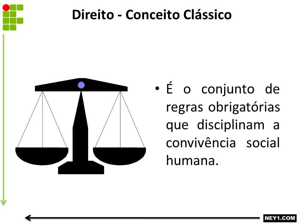 Direito - Conceito Clássico É o conjunto de regras obrigatórias que disciplinam a convivência social humana.
