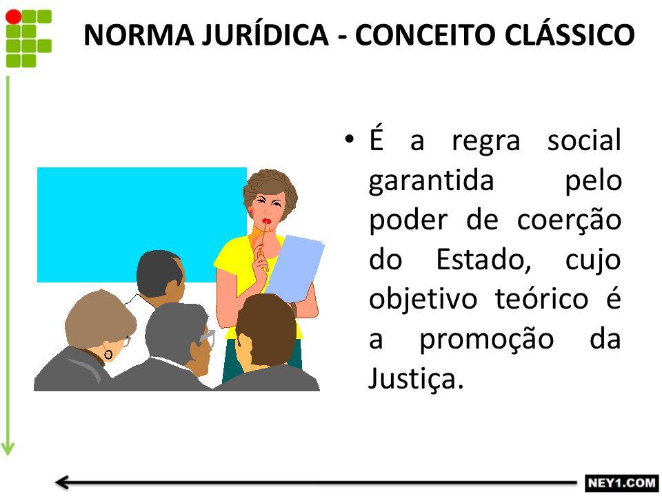 NORMA JURÍDICA - CONCEITO CLÁSSICO É a regra social garantida pelo poder de coerção do Estado, cujo objetivo teórico é a promoção da Justiça.