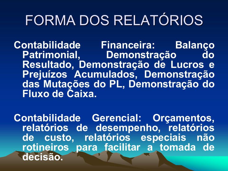 FORMA DOS RELATÓRIOS Contabilidade Financeira: Balanço Patrimonial, Demonstração do Resultado, Demonstração de Lucros e Prejuízos Acumulados, Demonstr