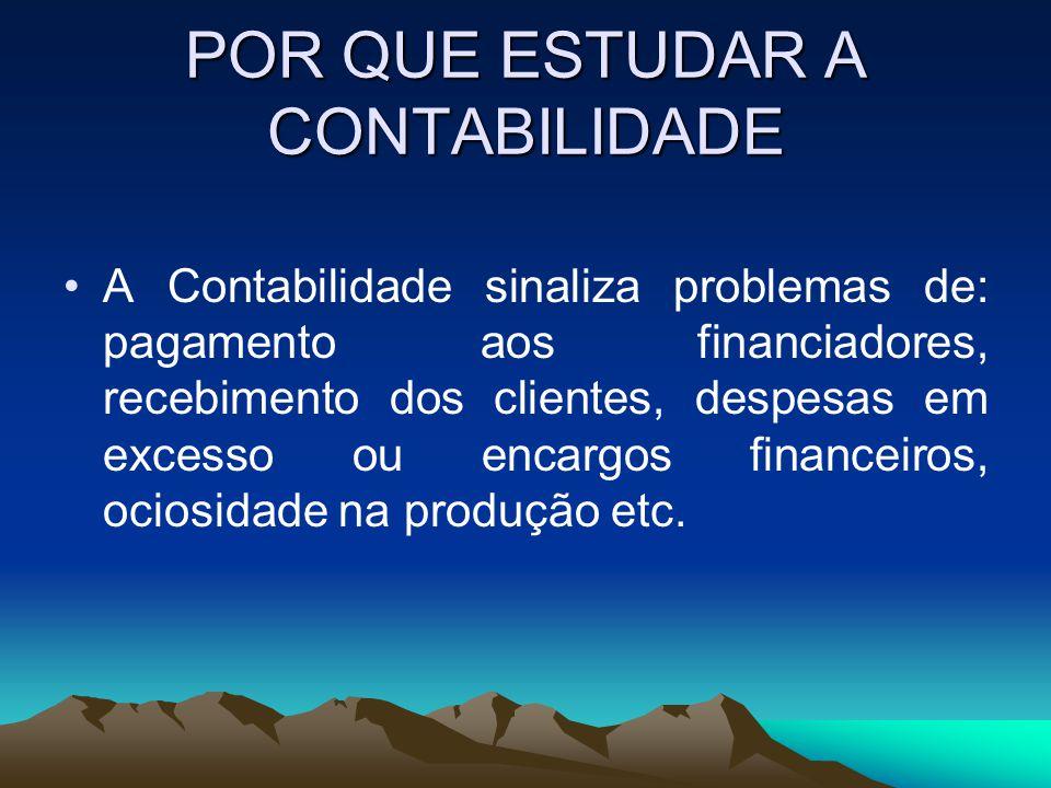 POR QUE ESTUDAR A CONTABILIDADE A Contabilidade sinaliza problemas de: pagamento aos financiadores, recebimento dos clientes, despesas em excesso ou e