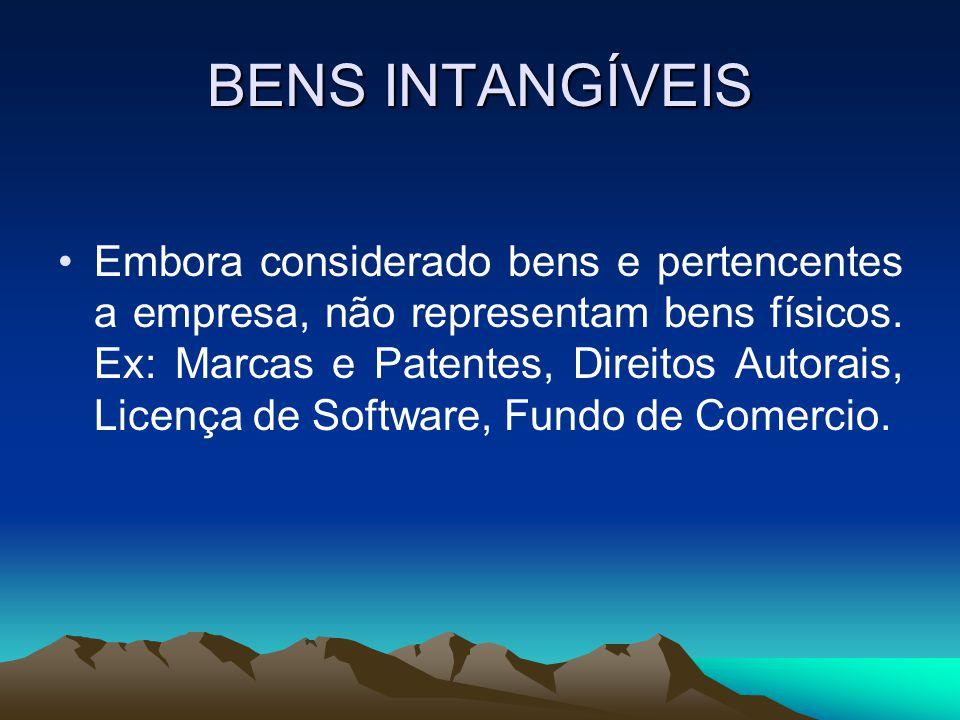 BENS INTANGÍVEIS Embora considerado bens e pertencentes a empresa, não representam bens físicos. Ex: Marcas e Patentes, Direitos Autorais, Licença de