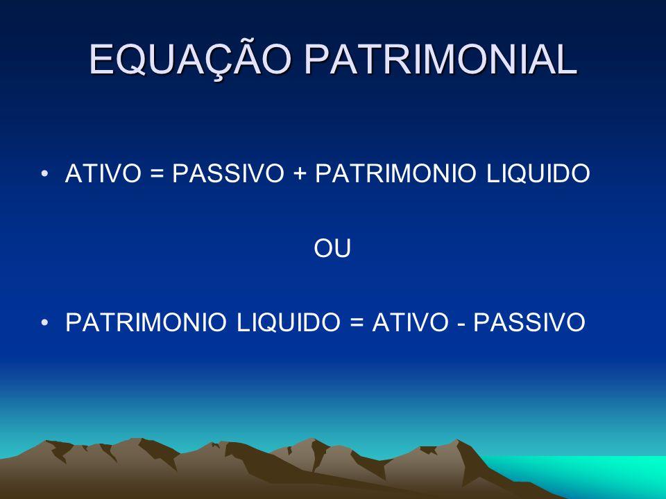 EQUAÇÃO PATRIMONIAL ATIVO = PASSIVO + PATRIMONIO LIQUIDO OU PATRIMONIO LIQUIDO = ATIVO - PASSIVO
