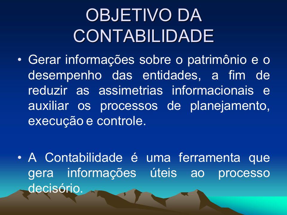 OBJETIVO DA CONTABILIDADE Gerar informações sobre o patrimônio e o desempenho das entidades, a fim de reduzir as assimetrias informacionais e auxiliar