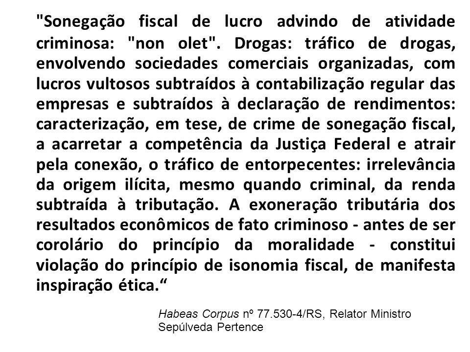 Sonegação fiscal de lucro advindo de atividade criminosa: non olet .