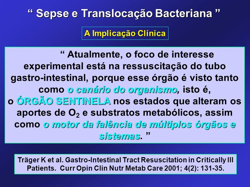 """o canário do organismo """" Atualmente, o foco de interesse experimental está na ressuscitação do tubo gastro-intestinal, porque esse órgão é visto tanto"""
