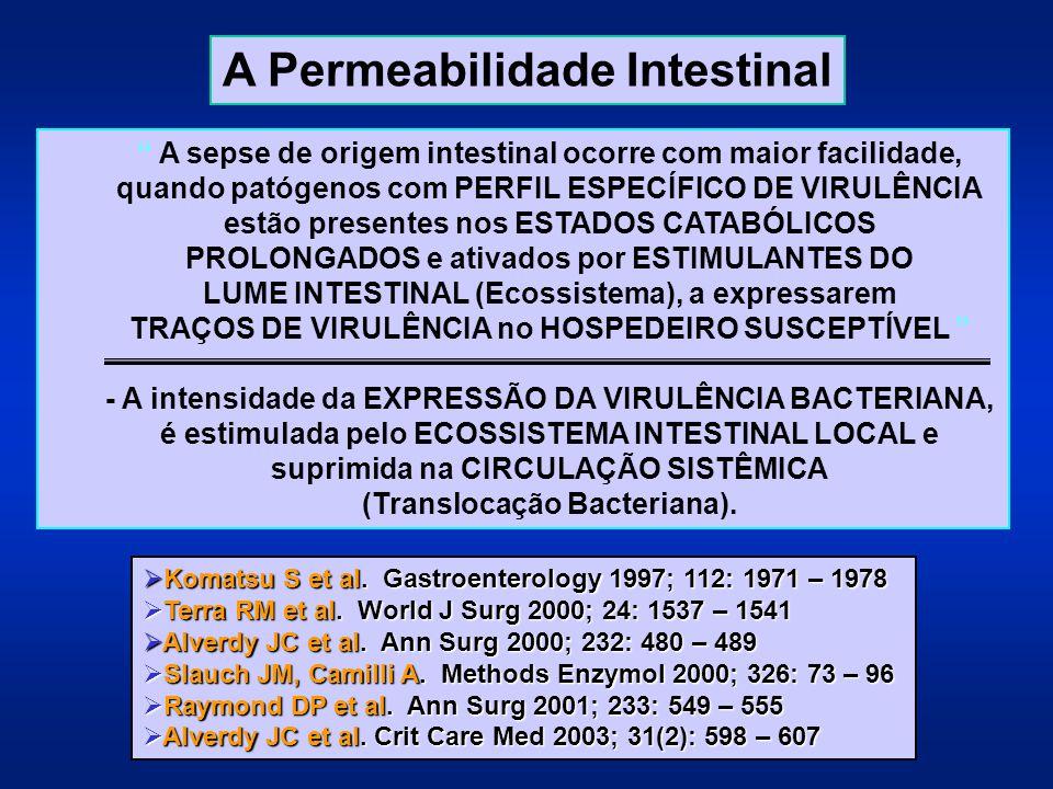 """"""" A sepse de origem intestinal ocorre com maior facilidade, quando patógenos com PERFIL ESPECÍFICO DE VIRULÊNCIA estão presentes nos ESTADOS CATABÓLIC"""