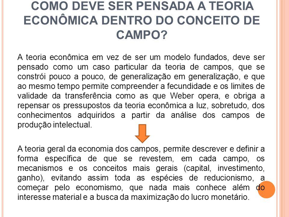 COMO DEVE SER PENSADA A TEORIA ECONÔMICA DENTRO DO CONCEITO DE CAMPO? A teoria econômica em vez de ser um modelo fundados, deve ser pensado como um ca