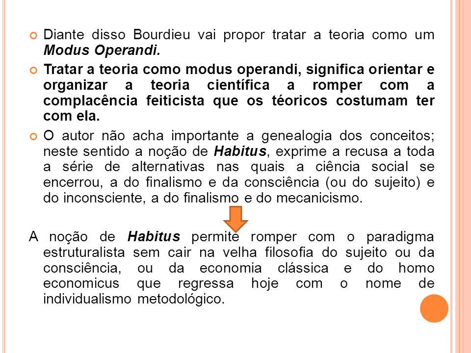 Diante disso Bourdieu vai propor tratar a teoria como um Modus Operandi. Tratar a teoria como modus operandi, significa orientar e organizar a teoria