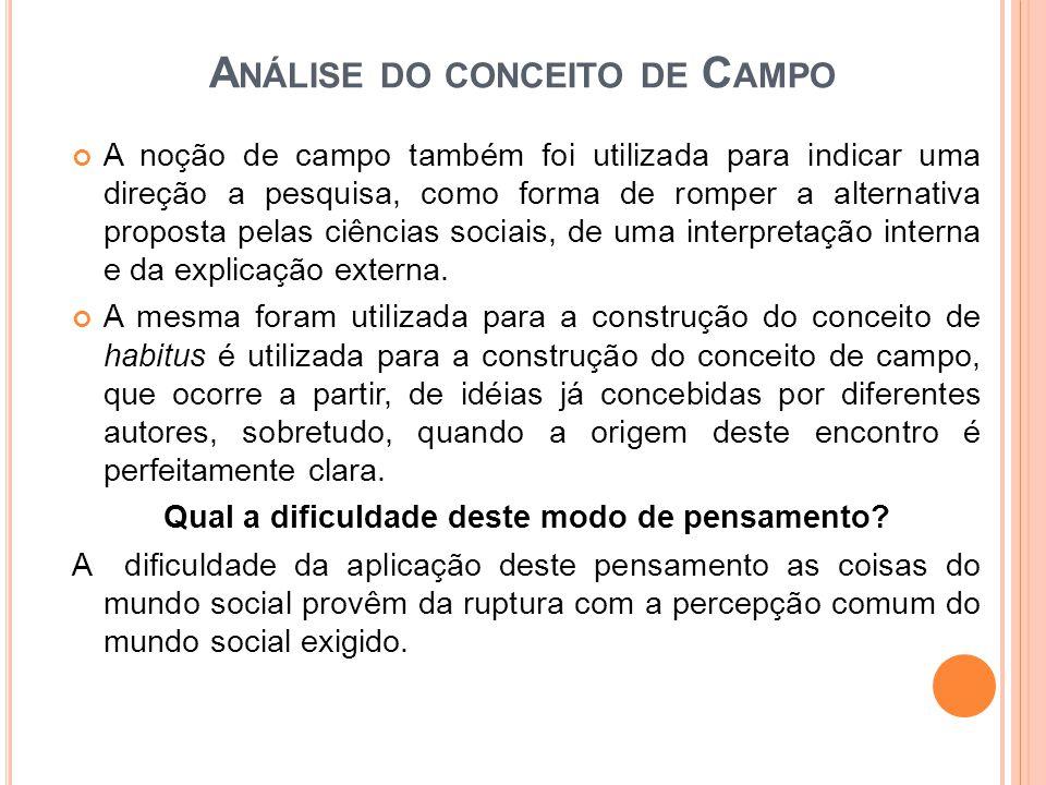 A NÁLISE DO CONCEITO DE C AMPO A noção de campo também foi utilizada para indicar uma direção a pesquisa, como forma de romper a alternativa proposta