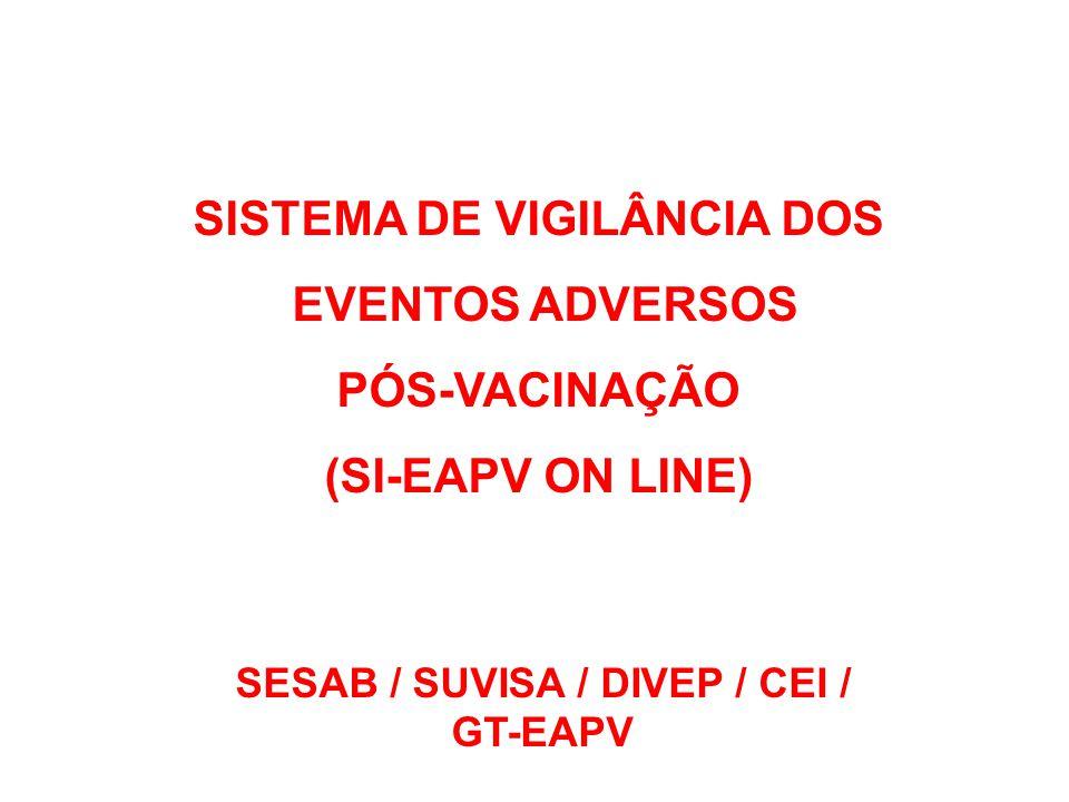 SISTEMA DE VIGILÂNCIA DOS EVENTOS ADVERSOS PÓS-VACINAÇÃO (SI-EAPV ON LINE) SESAB / SUVISA / DIVEP / CEI / GT-EAPV