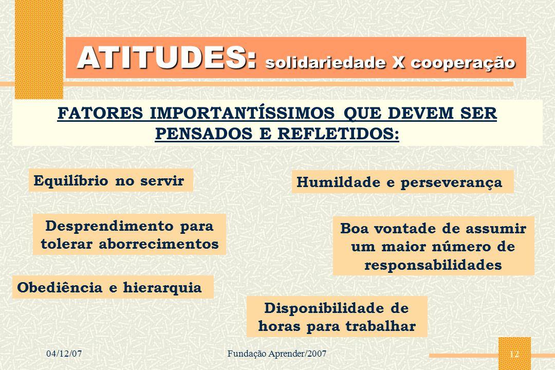 04/12/07Fundação Aprender/2007 12 ATITUDES: solidariedade X cooperação FATORES IMPORTANTÍSSIMOS QUE DEVEM SER PENSADOS E REFLETIDOS: Equilíbrio no ser