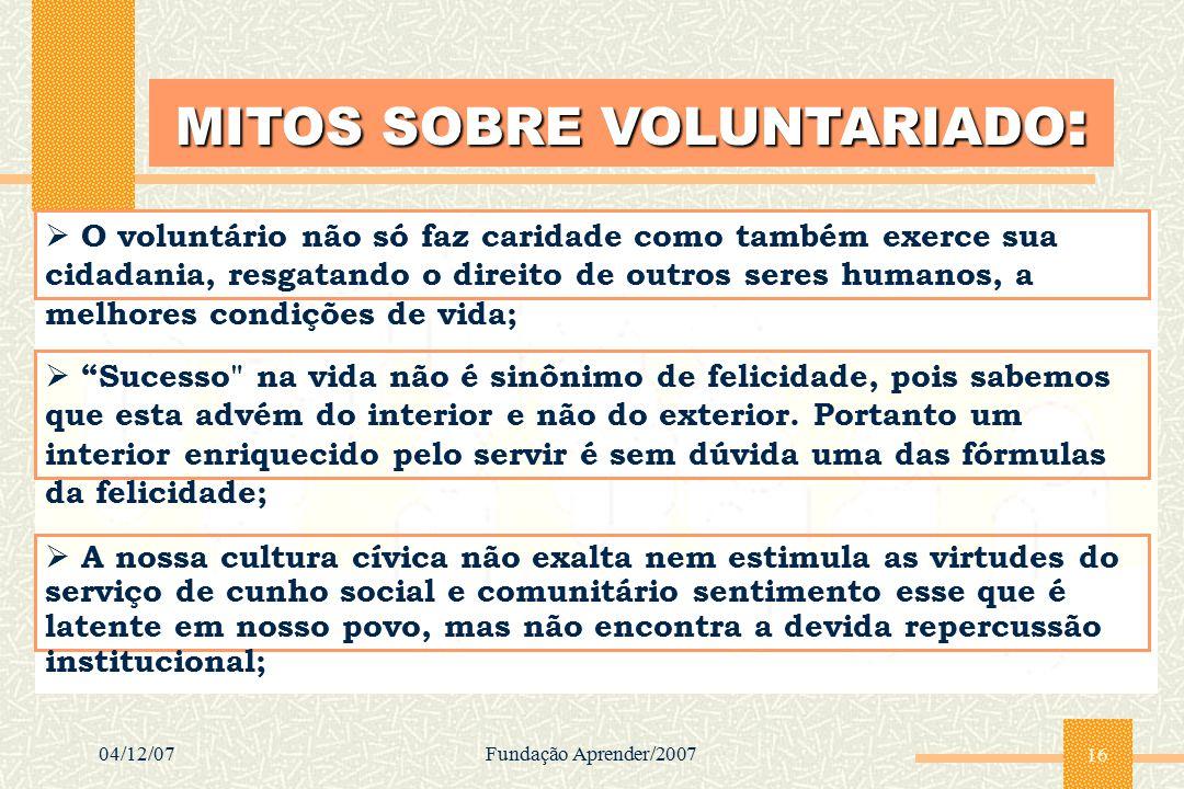 04/12/07Fundação Aprender/2007 16 MITOS SOBRE VOLUNTARIADO :  O voluntário não só faz caridade como também exerce sua cidadania, resgatando o direito