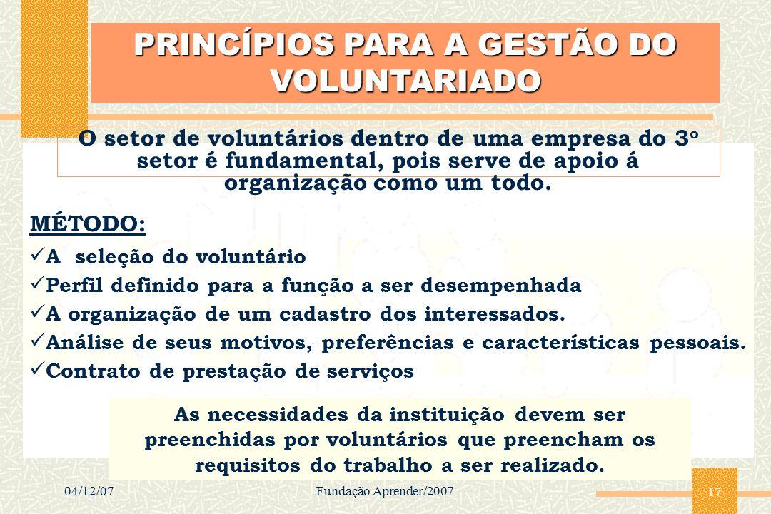 04/12/07Fundação Aprender/2007 17 PRINCÍPIOS PARA A GESTÃO DO VOLUNTARIADO O setor de voluntários dentro de uma empresa do 3 o setor é fundamental, po