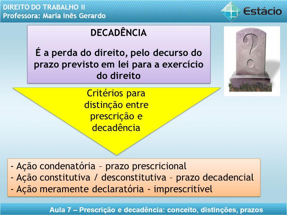 DIREITO DO TRABALHO II Professora: Maria Inês Gerardo Aula 7 – Prescrição e decadência: conceito, distinções, prazos DECADÊNCIA É a perda do direito,