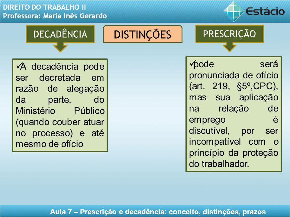 DIREITO DO TRABALHO II Professora: Maria Inês Gerardo Aula 7 – Prescrição e decadência: conceito, distinções, prazos DISTINÇÕES DECADÊNCIA PRESCRIÇÃO