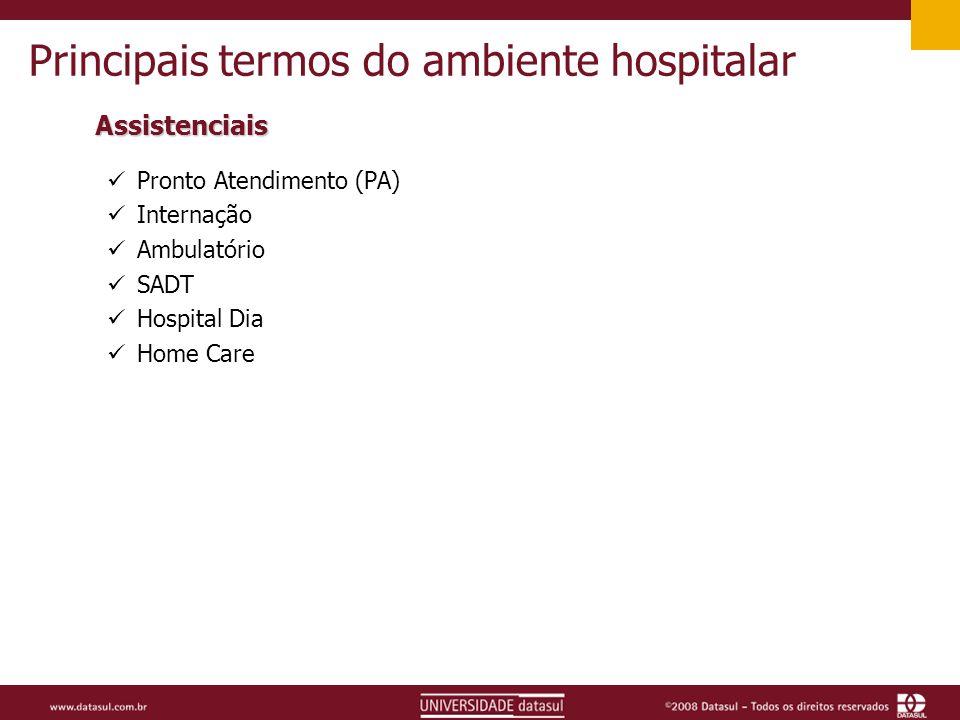 Principais termos do ambiente hospitalar Assistenciais Pronto Atendimento (PA) Internação Ambulatório SADT Hospital Dia Home Care