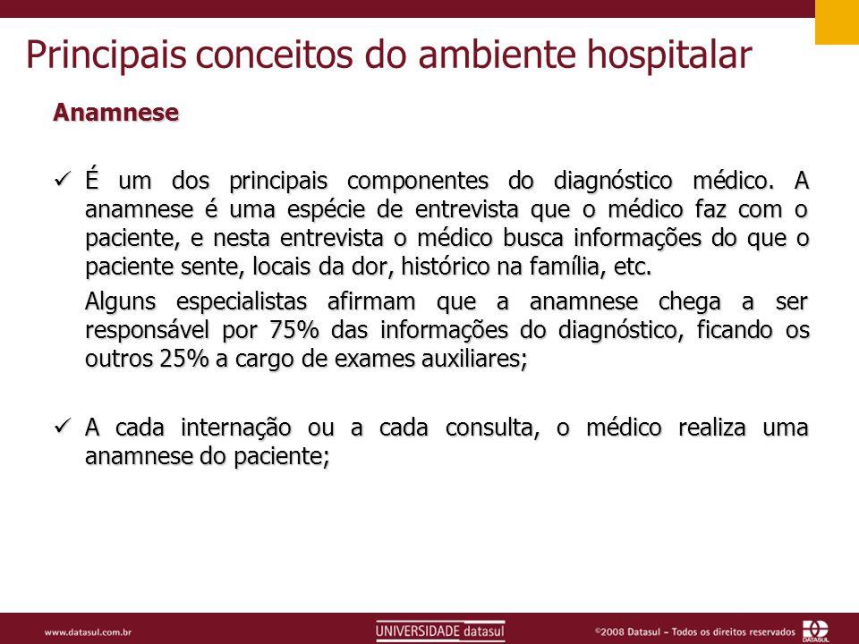 Principais conceitos do ambiente hospitalar Anamnese É um dos principais componentes do diagnóstico médico.