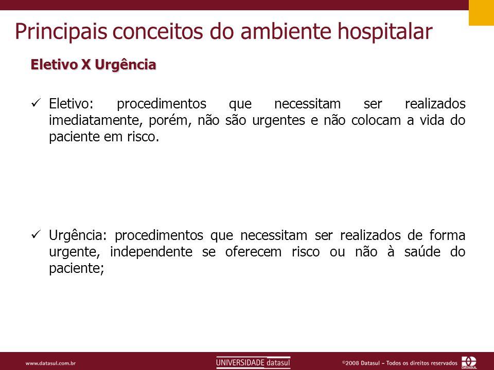 Principais conceitos do ambiente hospitalar Eletivo X Urgência Eletivo: procedimentos que necessitam ser realizados imediatamente, porém, não são urgentes e não colocam a vida do paciente em risco.
