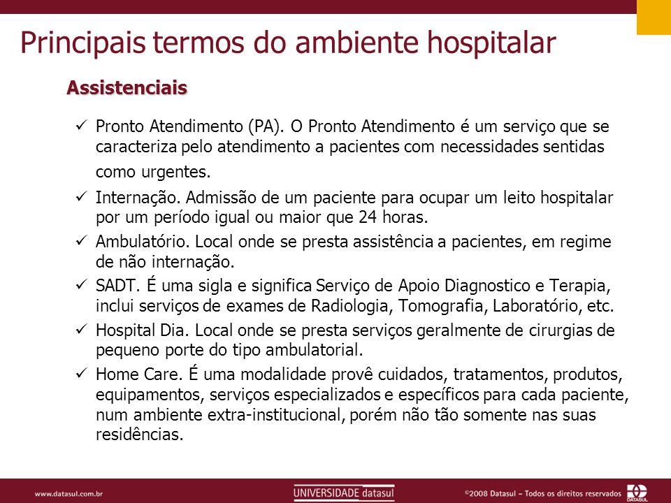 Principais termos do ambiente hospitalar Assistenciais Pronto Atendimento (PA).