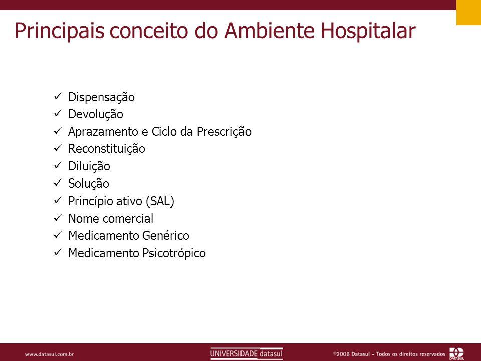 Principais conceito do Ambiente Hospitalar Dispensação Devolução Aprazamento e Ciclo da Prescrição Reconstituição Diluição Solução Princípio ativo (SAL) Nome comercial Medicamento Genérico Medicamento Psicotrópico