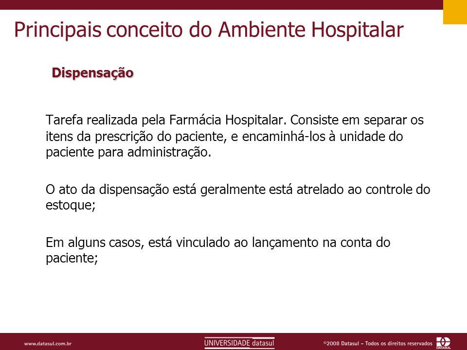 Principais conceito do Ambiente Hospitalar Dispensação Tarefa realizada pela Farmácia Hospitalar.