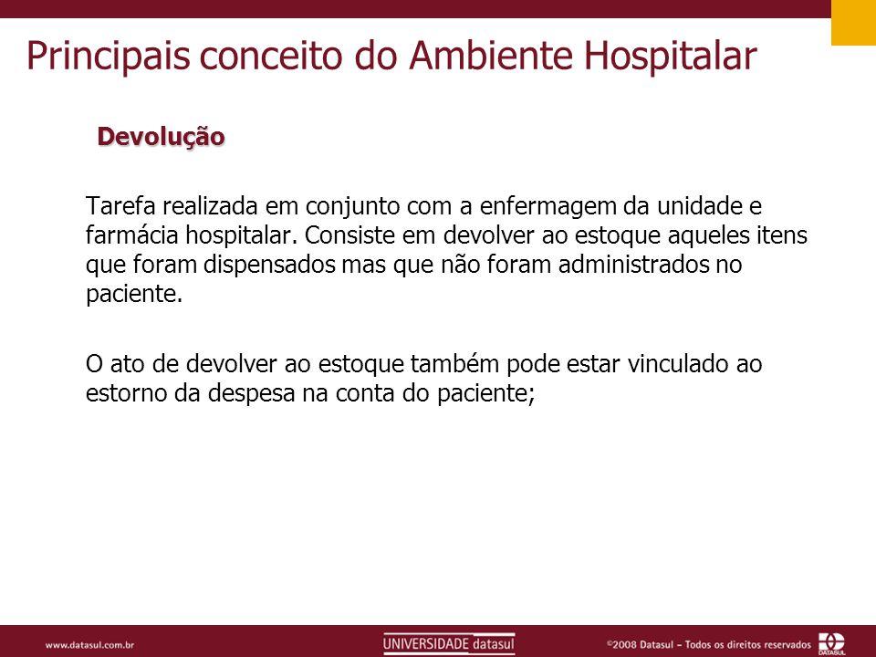 Principais conceito do Ambiente Hospitalar Devolução Tarefa realizada em conjunto com a enfermagem da unidade e farmácia hospitalar.