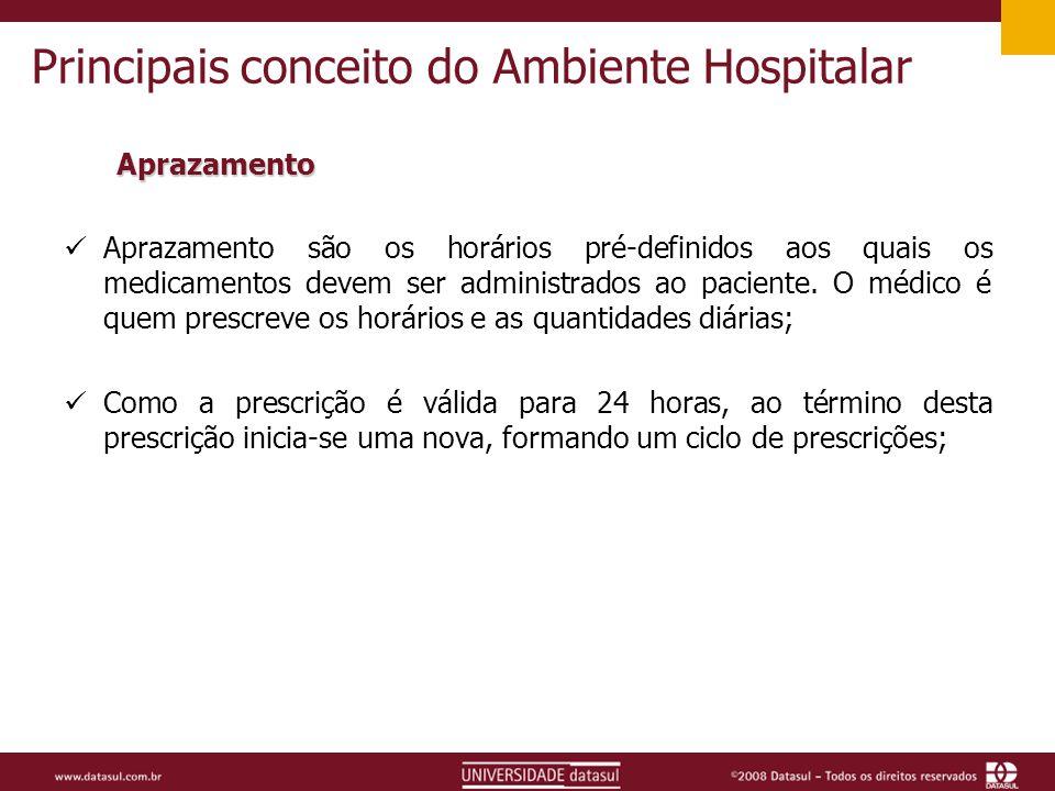 Principais conceito do Ambiente Hospitalar Aprazamento Aprazamento são os horários pré-definidos aos quais os medicamentos devem ser administrados ao paciente.