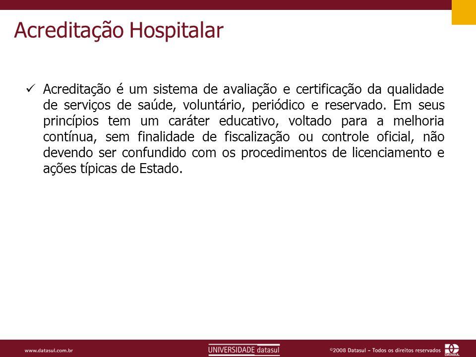 Acreditação Hospitalar Acreditação é um sistema de avaliação e certificação da qualidade de serviços de saúde, voluntário, periódico e reservado.