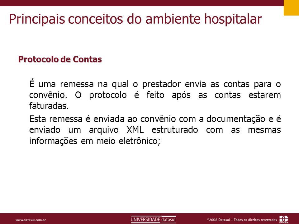 Principais conceitos do ambiente hospitalar Protocolo de Contas É uma remessa na qual o prestador envia as contas para o convênio.