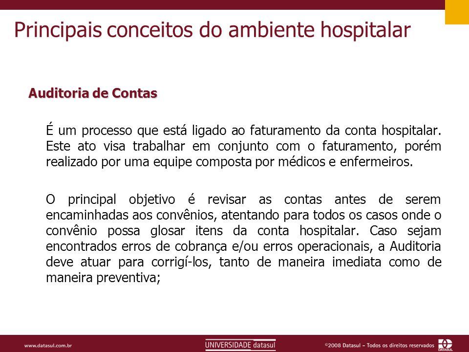Principais conceitos do ambiente hospitalar Auditoria de Contas É um processo que está ligado ao faturamento da conta hospitalar.