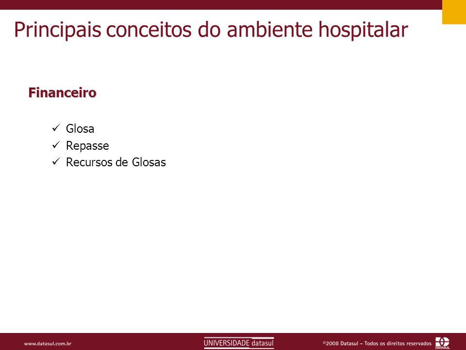 Principais conceitos do ambiente hospitalar Financeiro Glosa Repasse Recursos de Glosas