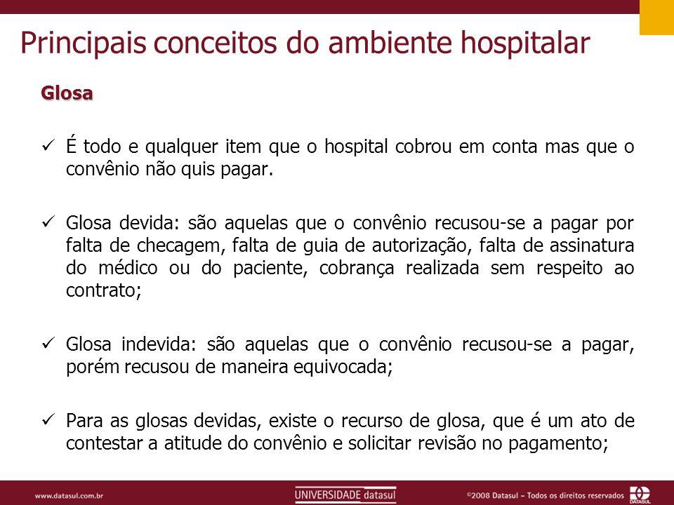 Principais conceitos do ambiente hospitalar Glosa É todo e qualquer item que o hospital cobrou em conta mas que o convênio não quis pagar.