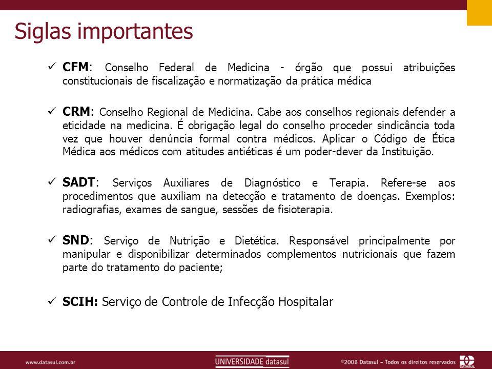 Siglas importantes CFM: Conselho Federal de Medicina - órgão que possui atribuições constitucionais de fiscalização e normatização da prática médica CRM: Conselho Regional de Medicina.